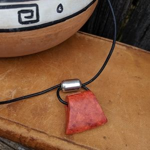 Silpada Sterling & Coral Chunky Pendant Necklace